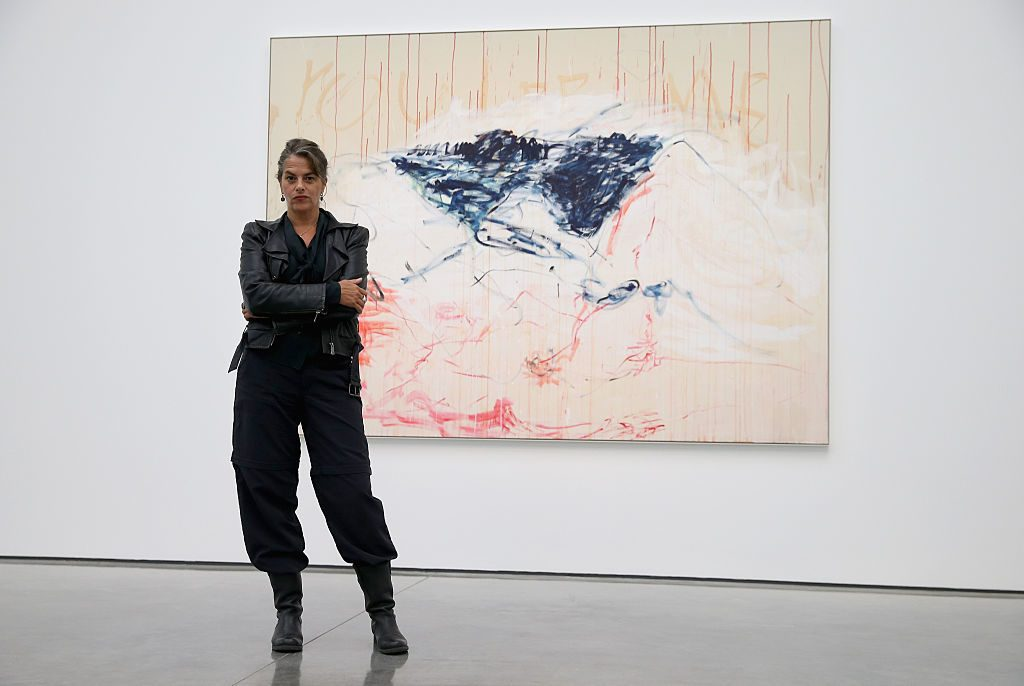 LONDON, ENGLAND - OCTOBER 06:  Artist Tracey Emin poses in front of her work as part of her 'The Last Great Adventure is You' Exhibition at the White Cube Gallery on October 6, 2014 in London, England. 'The Last Great Adventure is You' Exhibition is Emin's first in London for five years.  (Photo by Chris Jackson/Getty Images)